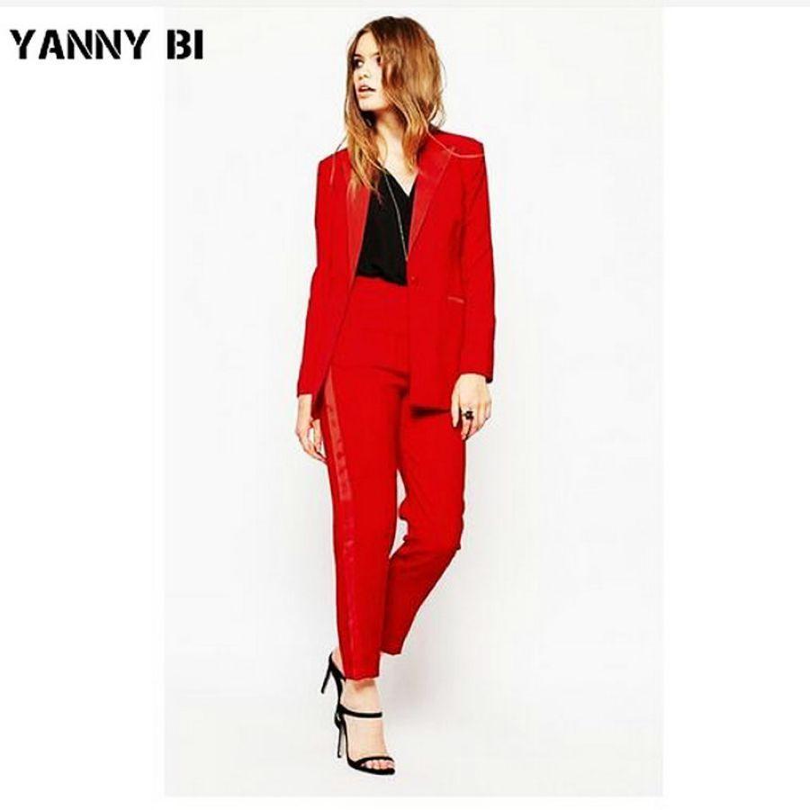 Conjunto de dos piezas traje de pantalón rojo formal aj en