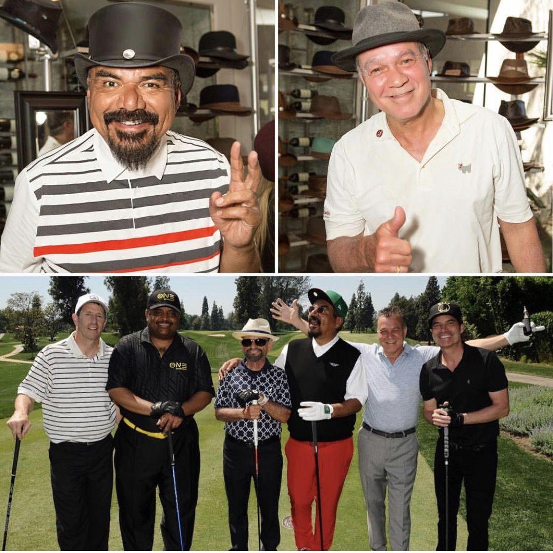 George Lopez Eddie Van Halen Both Wearing American Hat Makers Hats American Hat Makers Hat Manufacturing Handmade Hat