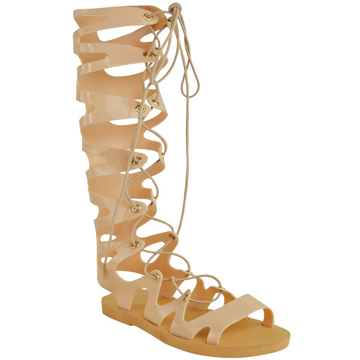 341c5fd97acb Fashion thirsty womens knee high lace up jelly sandals gladiator flat  summer shoes sandals size jpg
