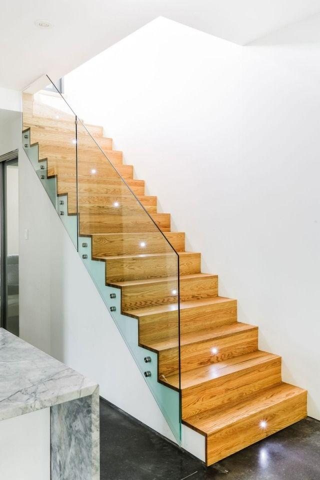 Moderne Innentreppen-design glasgeländer-Holzstufen Mentana ...