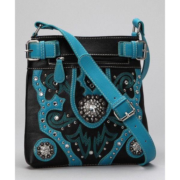 Black & Blue Spur Flower Rhinestone Crossbody Bag   Daily deals for... via Polyvore
