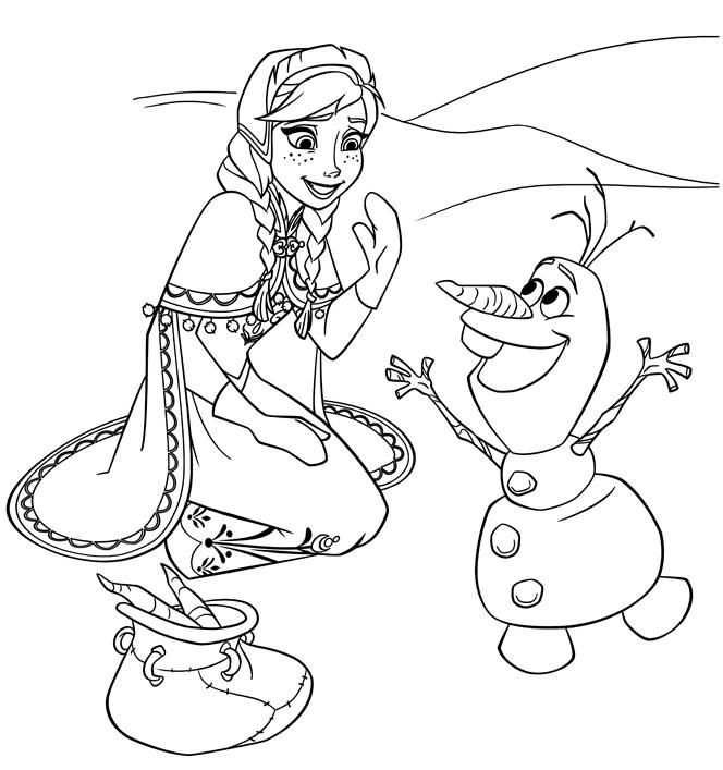 Super Coloriages Reine des Neiges - Olaf amuse Anna | Anniversaire Reine  JP85