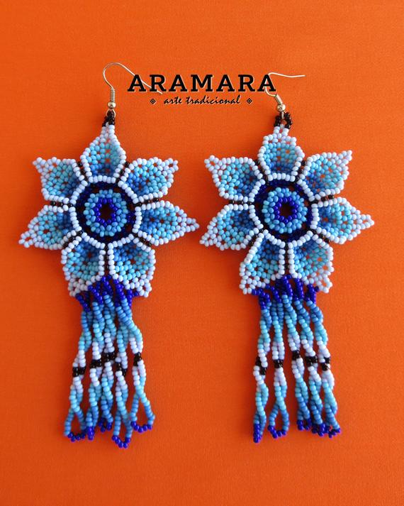 22a48b2616dabd Huichol Earrings, Flower Earrings, Beaded Flower, Mexican folk art, Native  american earrings, Mexica