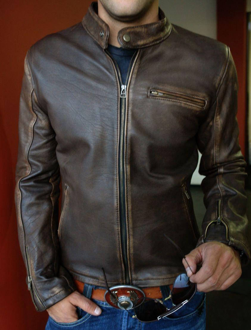 Genuine Motorcycle Distressed Dark Chocolate Brown Biker Real Cowhide Leather Jacket Men