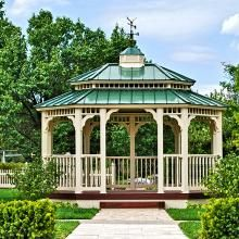 12x16 Oval Vinyl Gazebo With Metal Pagoda Roof And Country Style Railing Garden Gazebo Gazebo Gazebo Pergola