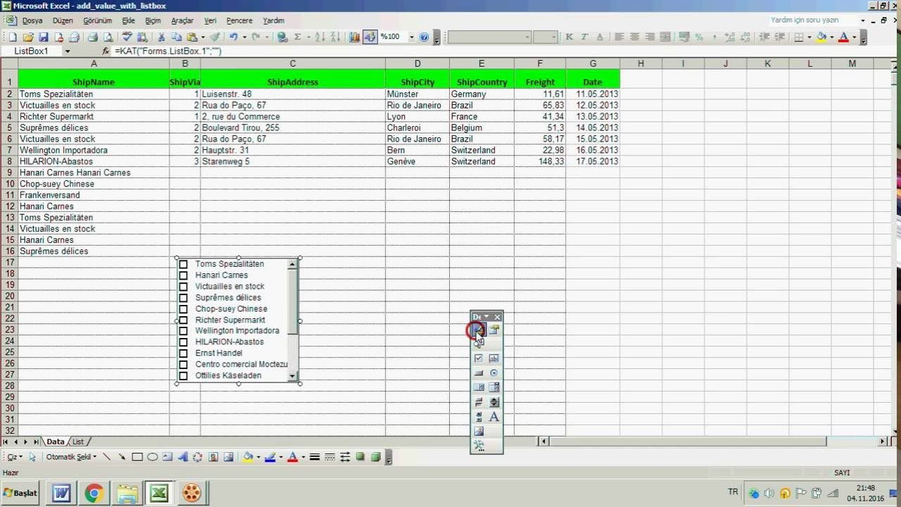 Excel The Visible Listbox When Specific Area Is Selected