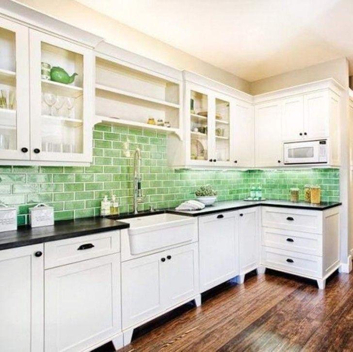 Kitchen Kitchen Countertops Ideas White Cabinet Green Subway Tile