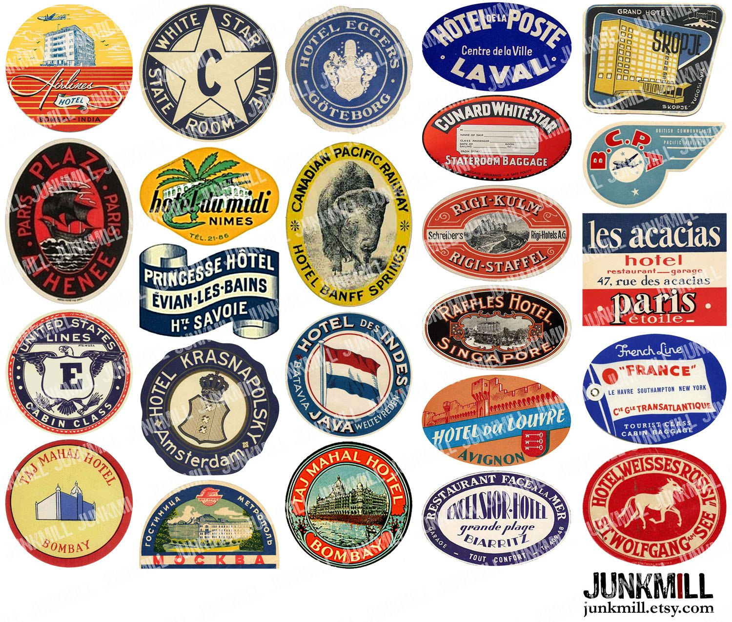 Vintage Travel Trailers: Digital Printable Collage Sheet