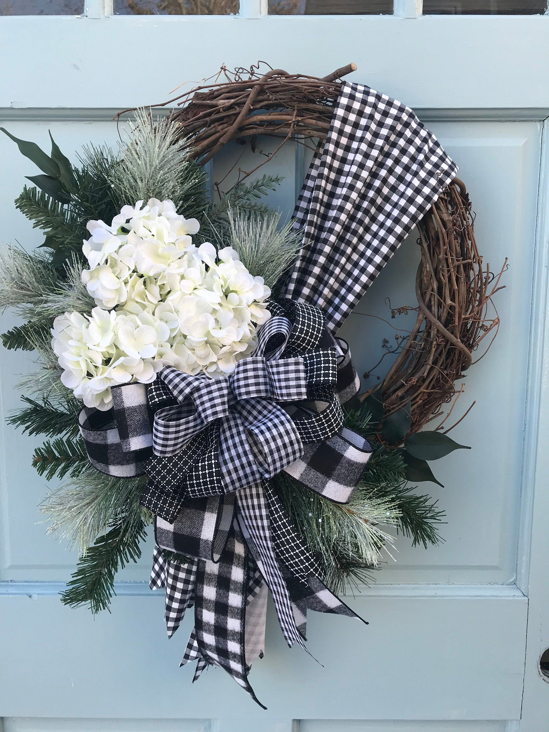 All Winter Long Farmhouse Grapevine Wreath For Door With Black And White Plaid Bow Wreaths For Front Doo In 2020 Grapevine Wreath Wreaths For Front Door Door Wreaths