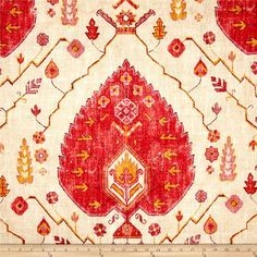 Image result for Aubusson Aegan - off-white, turquoise & chartreuse medallion ikat fabric by Richloom