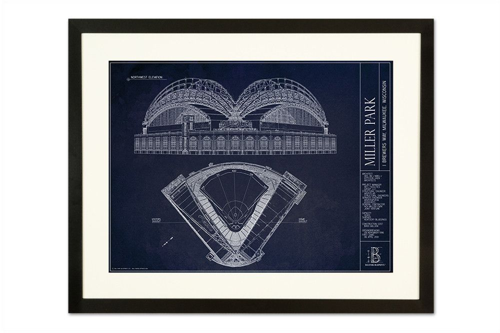Miller Park - Milwaukee Brewers from Ballpark Blueprints - Wall Art - Sports Gifts