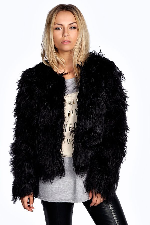 Aimee Shaggy Faux Fur Coat | Black fur jacket, Fur coat and Black ...