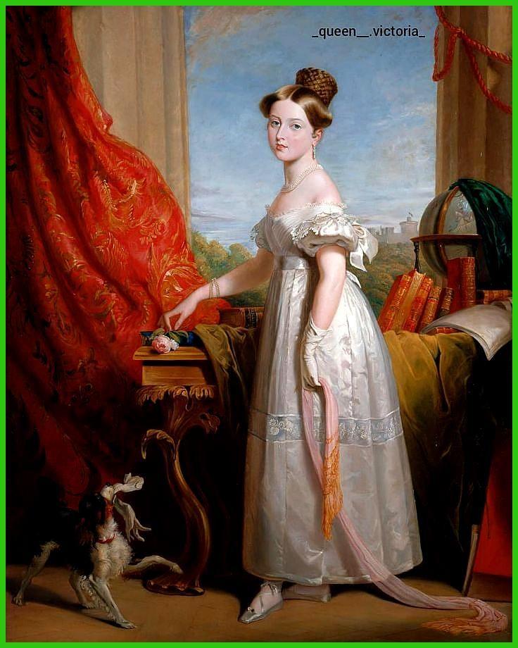 Porträt von Victoria mit ihrem Spaniel Dash von George Hayter 1833    queenvictoria Victoria thequeenvictoria royalty royalty hanov