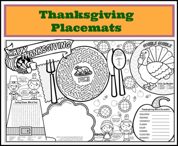 Printable Thanksgiving Placemats For Kids Thanksgiving Placemats