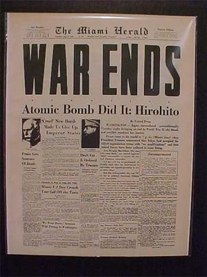 Vintage Newspaper Headline Japanese Hirohito Atomic Bomb Ends World War WWII | eBay