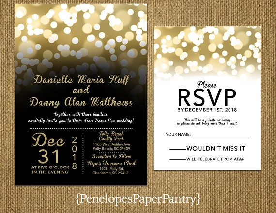 romantic new years eve wedding invitationblackgoldglowing bokeh lightsconfettishimmeryelegantprinted invitationwedding setenvelope