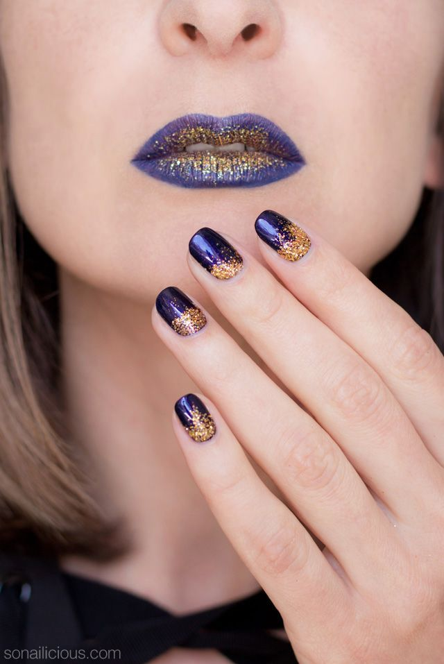 Gold and purple lips || Halloween makeup and nails ...