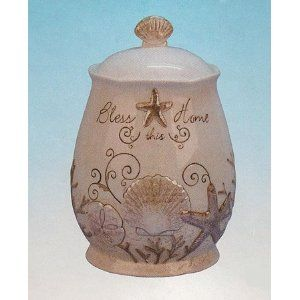 Ivory Seashell Starfish Cookie Jar Kitchen Canister Beach Theme Decor Canisters Cookies