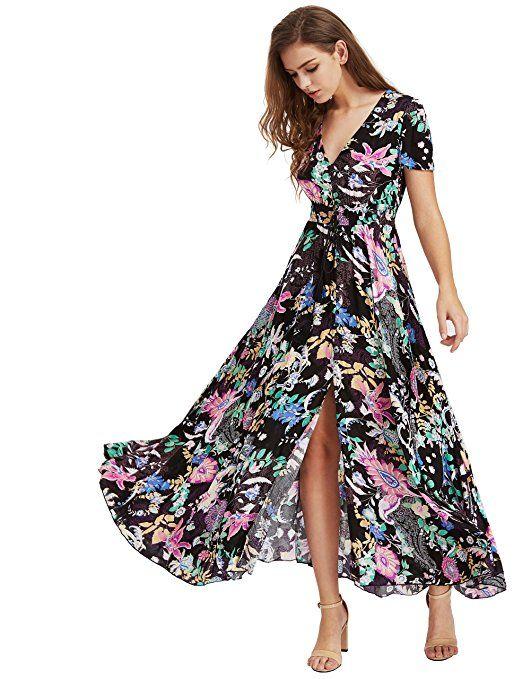 de62471baddb0 Milumia Women's Button Up Split Floral Print Flowy Party Maxi Dress at  Amazon Women's Clothing store: