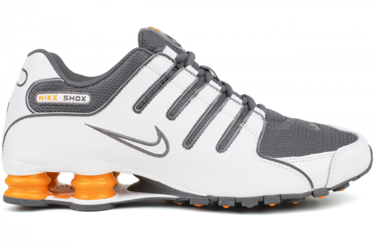 NIKE Shox NZ 378341 138 White / White-Dark Grey-Vivid Orange The Nike