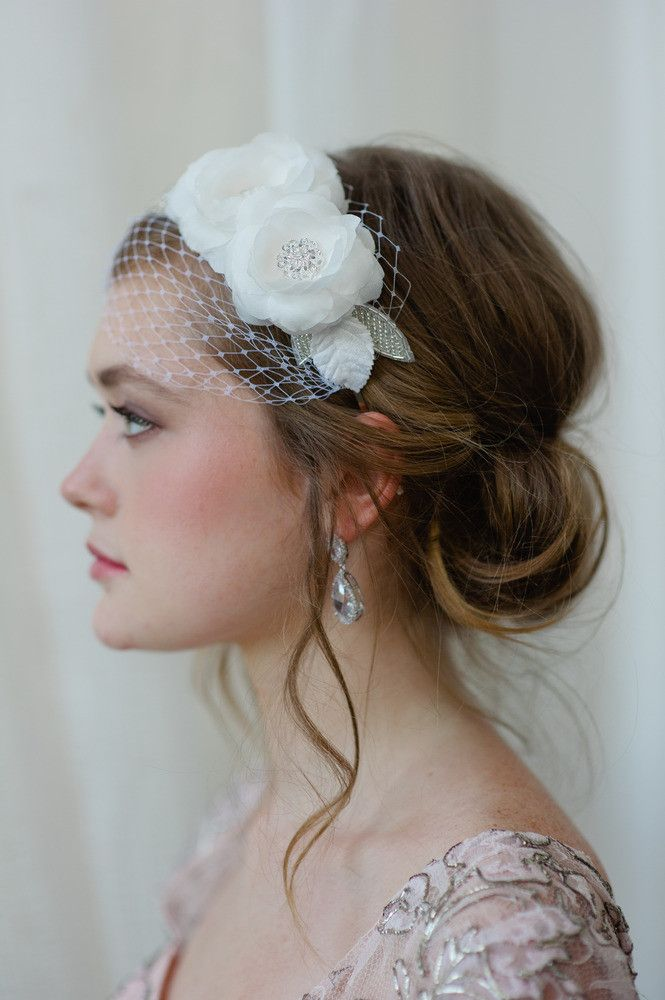 Bridal Hairband With Mini Veil In Light Ivory