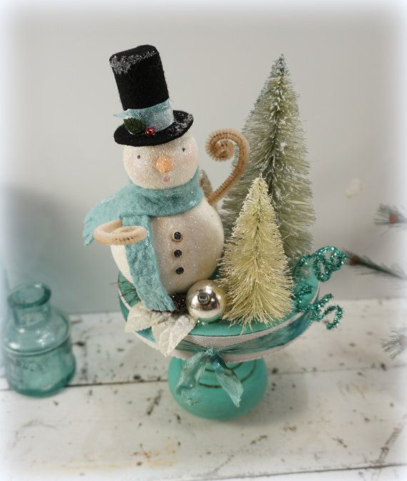 Old Style Christmas Decorations: Christmas Decoration // Snowman // Vintage Style Christmas