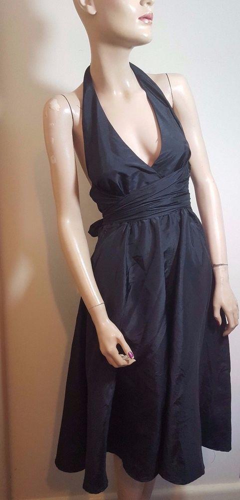 e4b227b1f 🦄Fever London Size 10 12 Black Halter Neck Dress Sexy Swing Marilyn ...