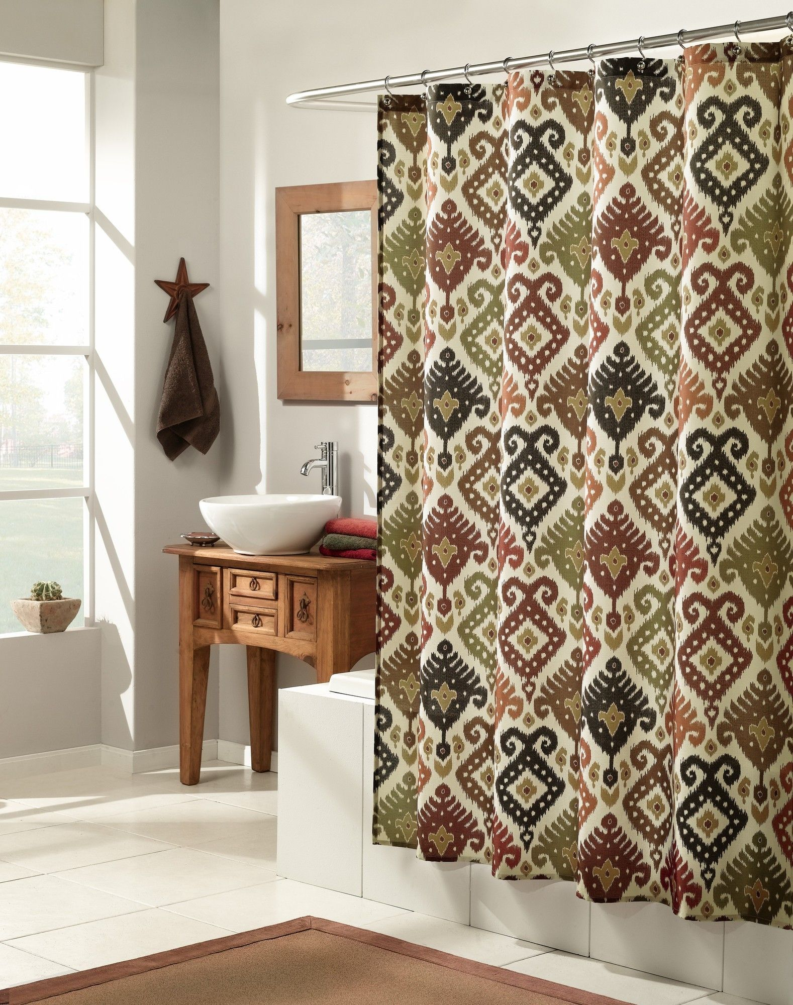 MASTER BATHROOM   M. Style Ikat Shower Curtain   MS8105 SPICE   $ 20