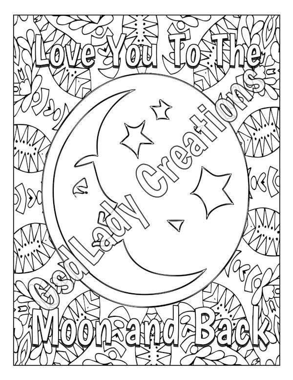 Love You To The Moon And Back Coloring Page Mandala Adult Coloring