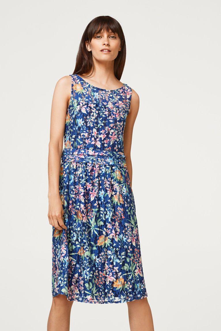 6aab75f8554 Esprit - Krajkové šaty s natištěnými květy a se strečem | Šaty ...