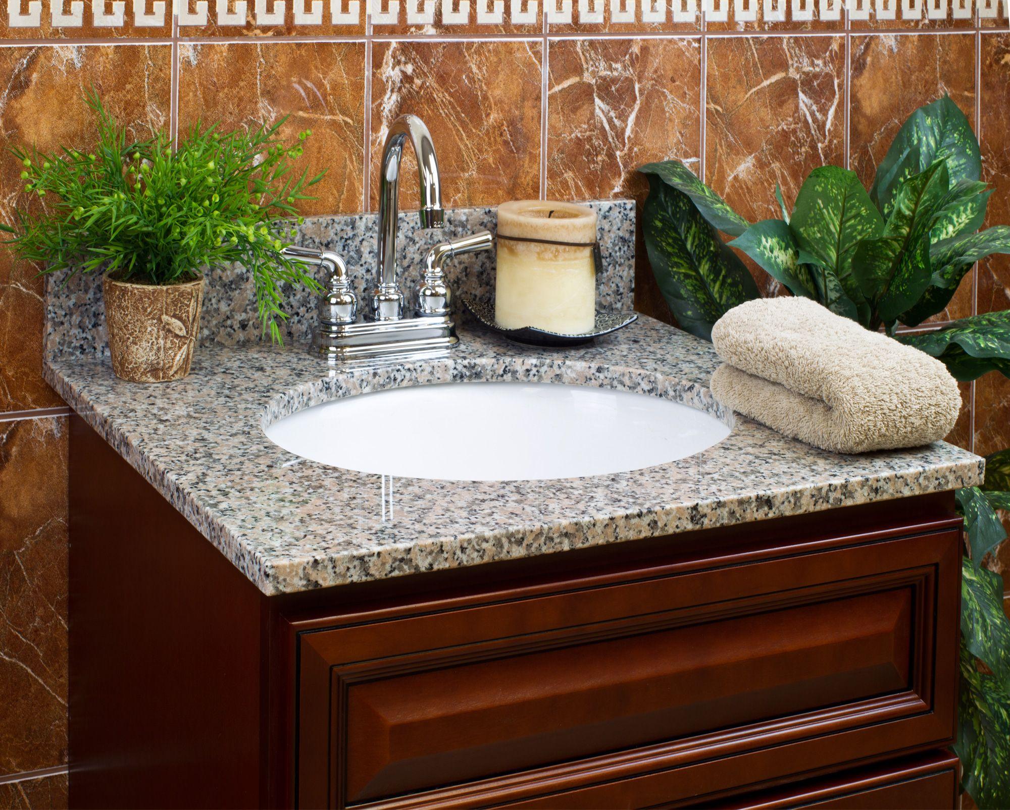 Web Image Gallery Burlywood Granite Vanity Top u or in Faucet Spread u in