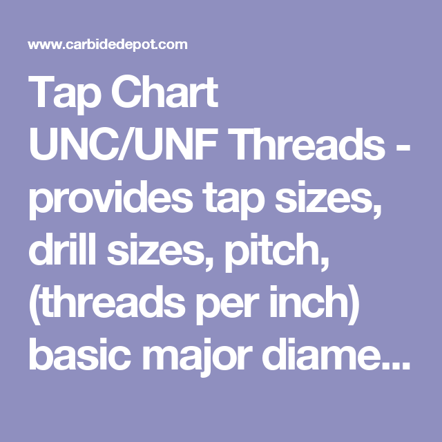 Tap Chart UNC/UNF Threads - provides tap sizes, drill sizes