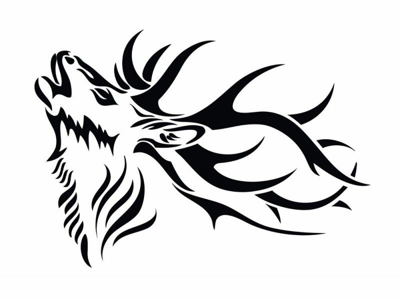 Howling Tribal Deer Tattoo Design Tattooimages Biz Elk Silhouette Deer Head Silhouette Deer Tattoo Designs