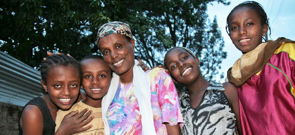 Meestawit with her four children in Nazareth, Ethiopia