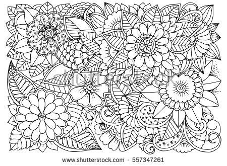Black And White Flower Pattern For Coloring Doodle Floral Drawing Art Therapy Coloring Page Pattern Coloring Pages Floral Drawing Doodle Coloring