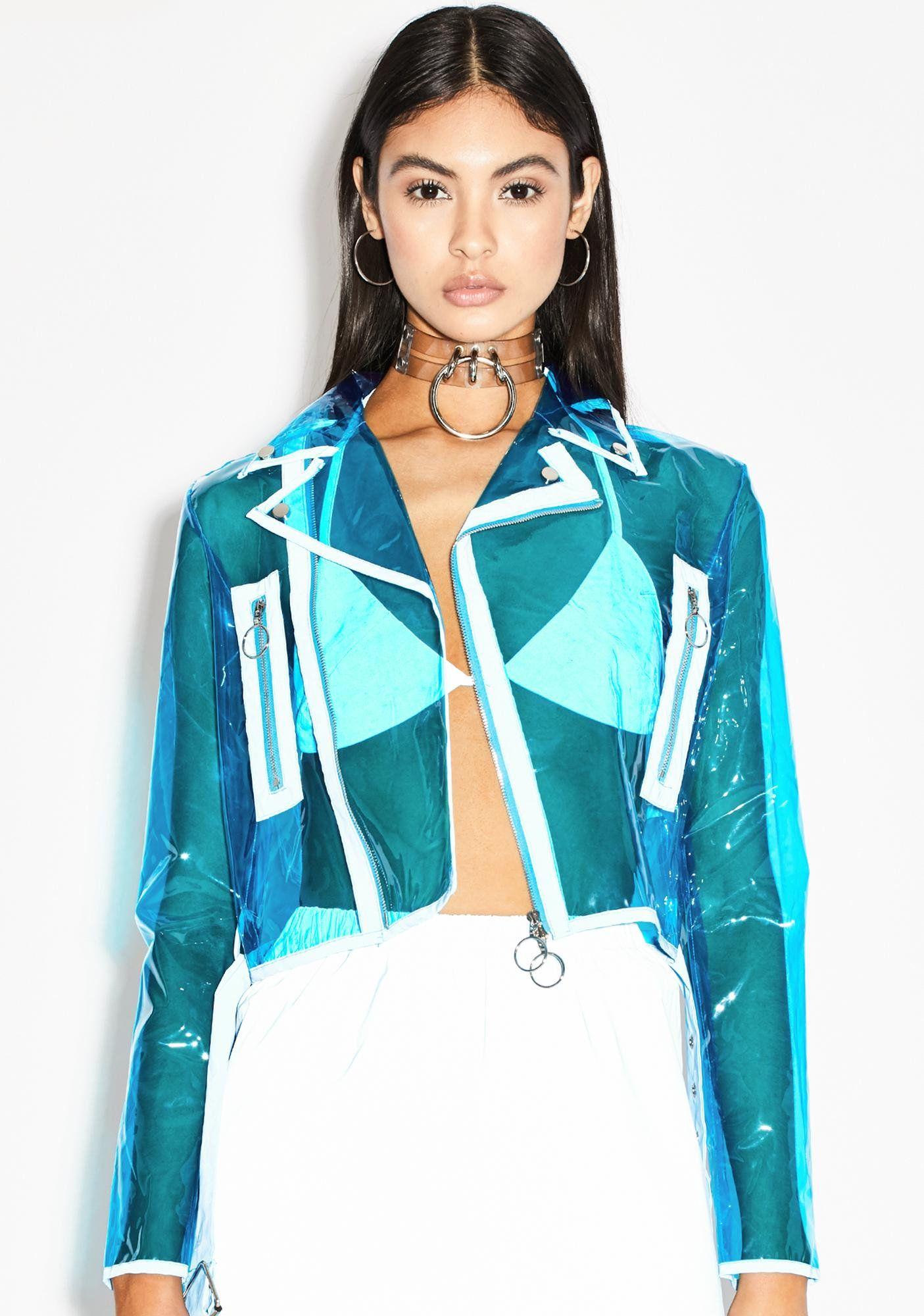 Vinyl Moto Jacket Clear Buckle Blue Dolls Kill Vinyl Clothing Moto Jacket Jackets