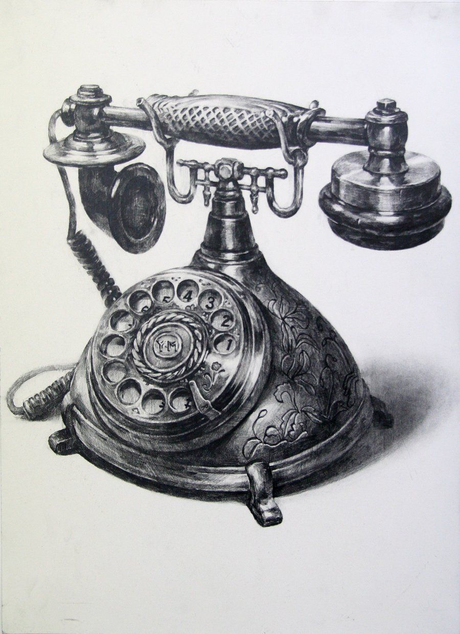 A telephone by indiart3612 on deviantart telephone drawing realistic drawings 3d drawings pencil