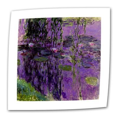 """ArtWall Lavender Water Lillies by Claude Monet Print of Painting on Rolled Canvas Size: 48"""" H x 36"""" W"""