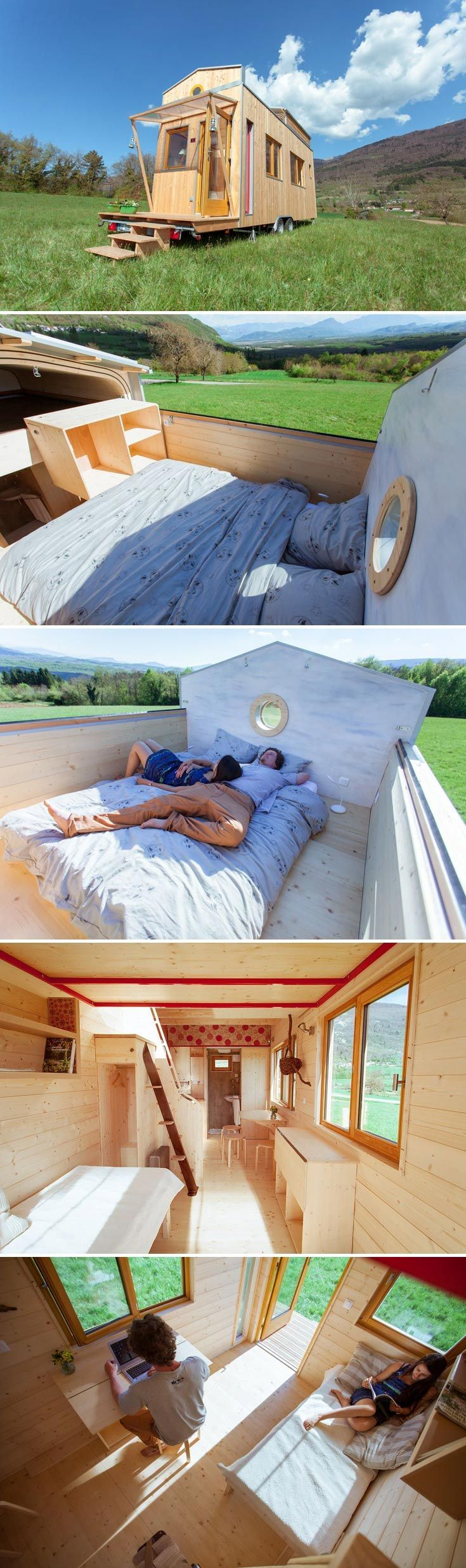 With its sliding roof, the Head in the Stars offers a unique tiny house experience. Built by France's Optinid, this tiny home gives you the chance to sleep under the stars from the comfort of your own bed. #tinyhome