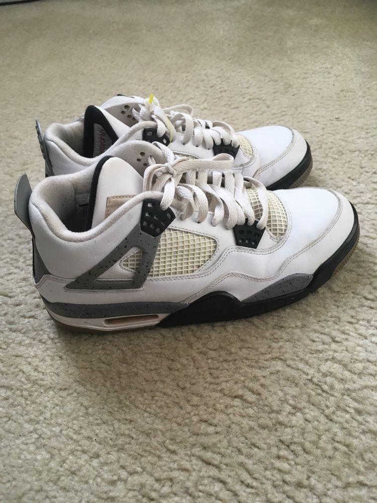 b3ed6e0c96e Nike Air Jordan IV 4 Retro White Black Cement Grey 308497 103 Size 8.5   fashion