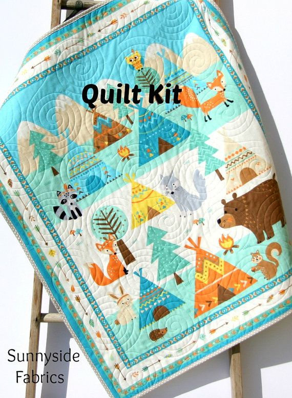 LAST ONE Aztec Quilt Kit, FLANNEL Baby Blanket Panel Quick Easy Boy