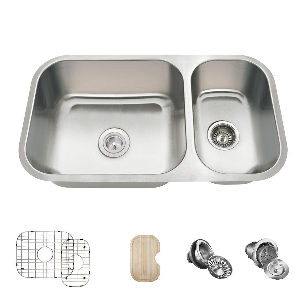Mr Direct All In One Undermount Stainless Steel Silver 32 In Double Bowl Kitchen Sink In 16 Gauge Products Double Bowl Kitchen Sink Sink Stainless Ste