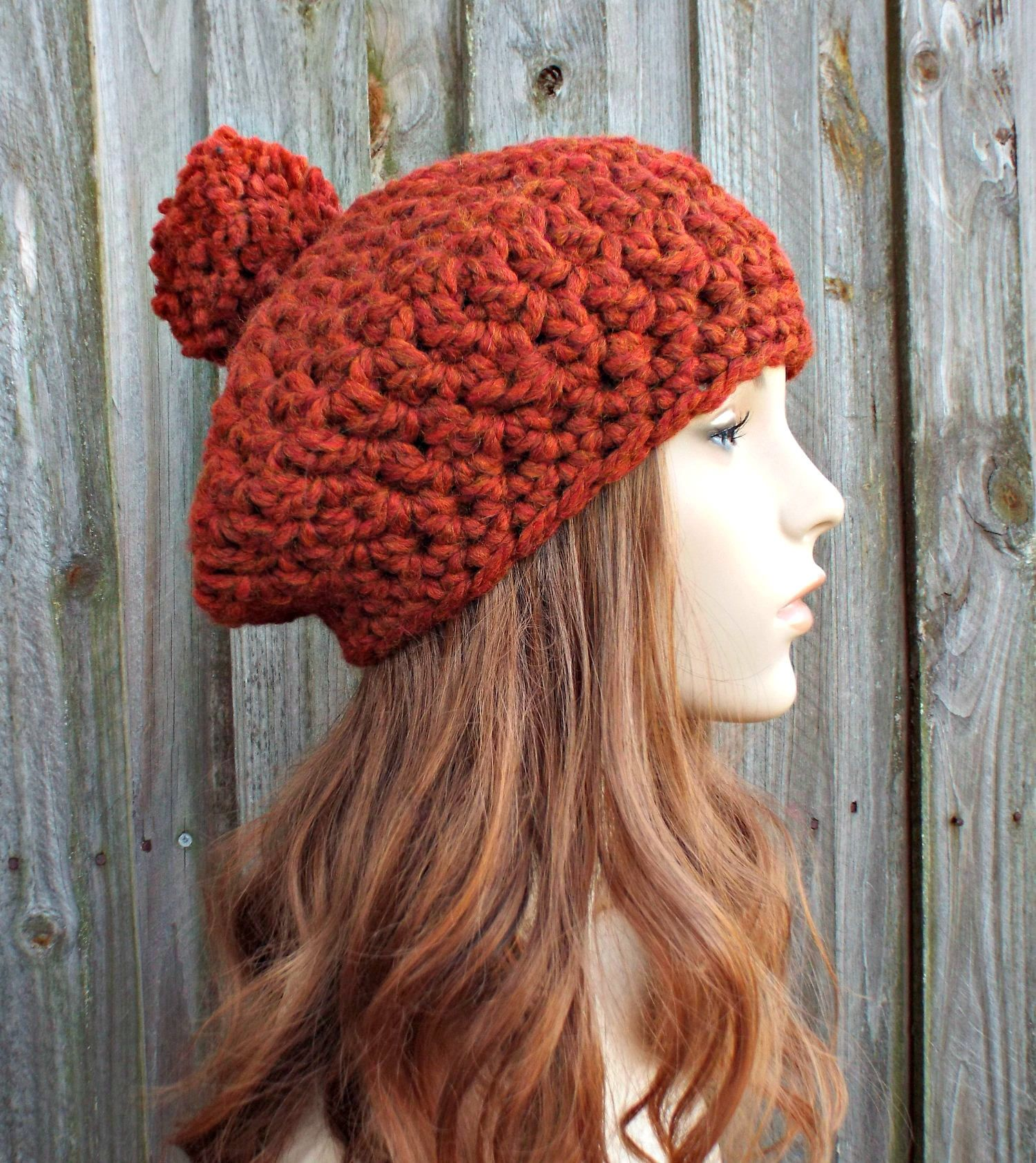 c0f42571923 Spice Burnt Orange Crochet Hat Womens Hat Slouchy Hat - Pom Pom Beret - Orange  Hat Orange Beret Orange Beanie - READY TO SHIP