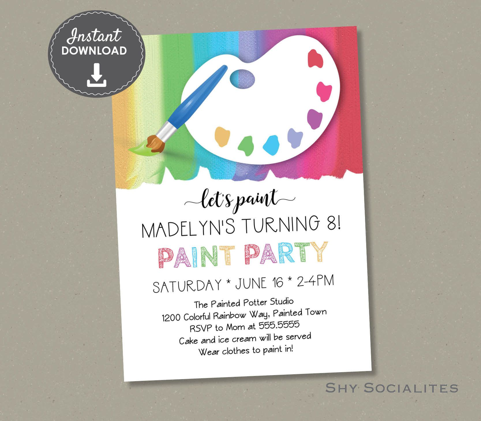 Paint Party Invitation | Art Party, Pottery Painting Birthday, Craft ...