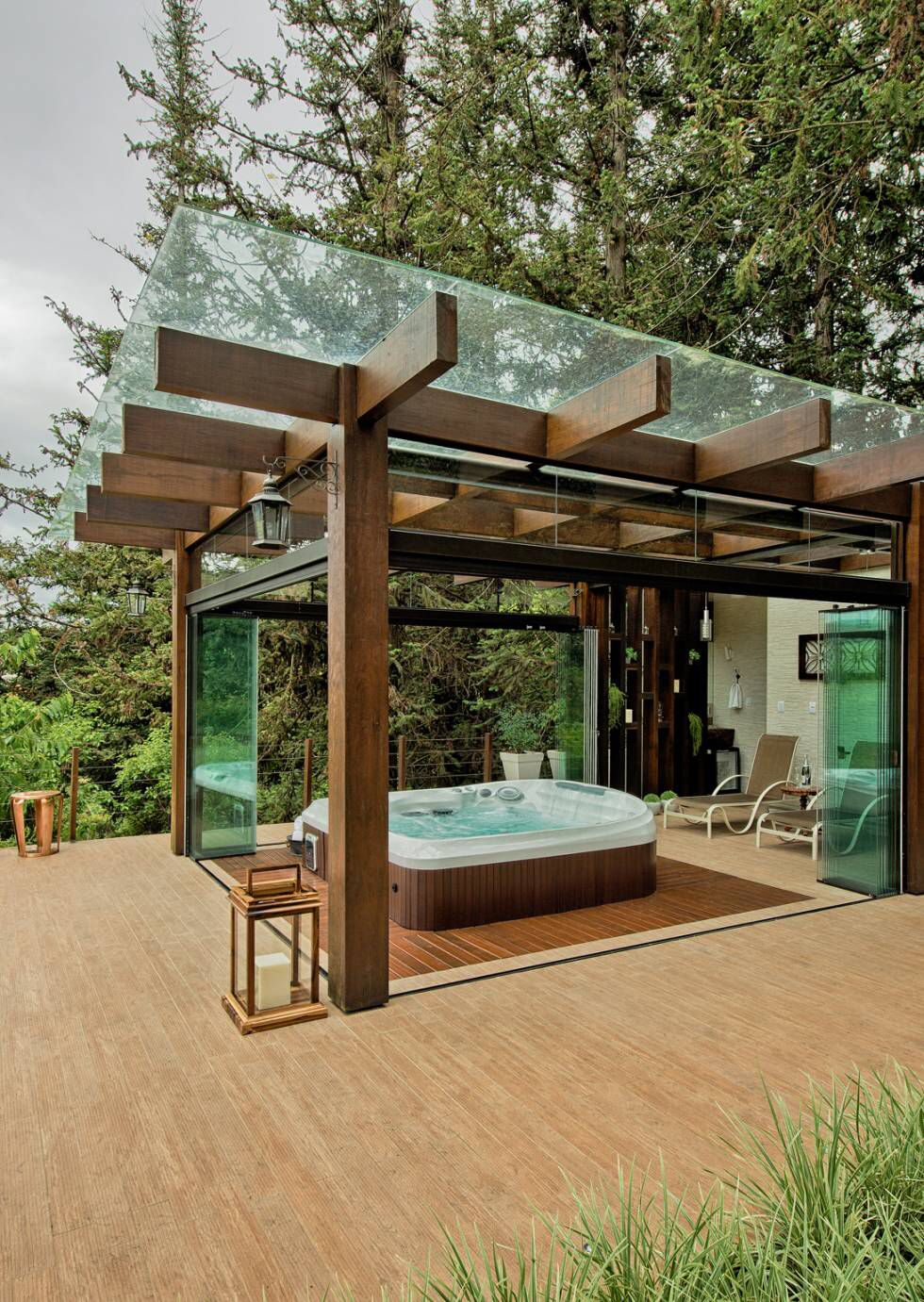 Jacuzzi Extérieur Idee Deco Hot Tub Pergola Clearly See The Stars On Bright Nights Protects