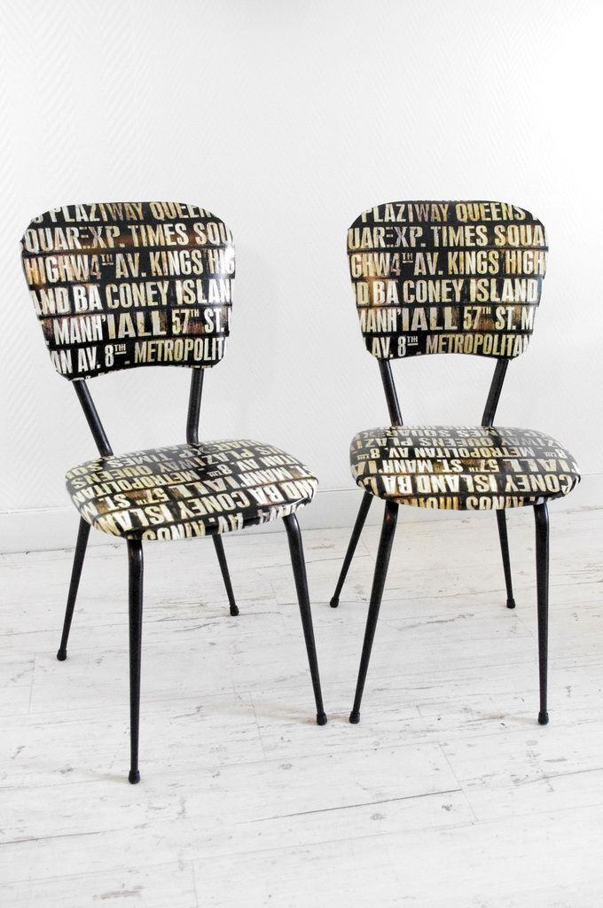 Voici deux petites chaises des années 60/70 qui ont repris un look