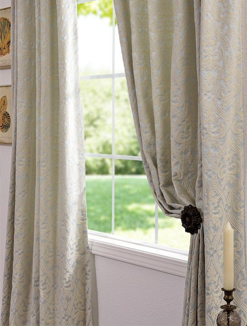 Westminster Light Blue Cotton Damask Curtains