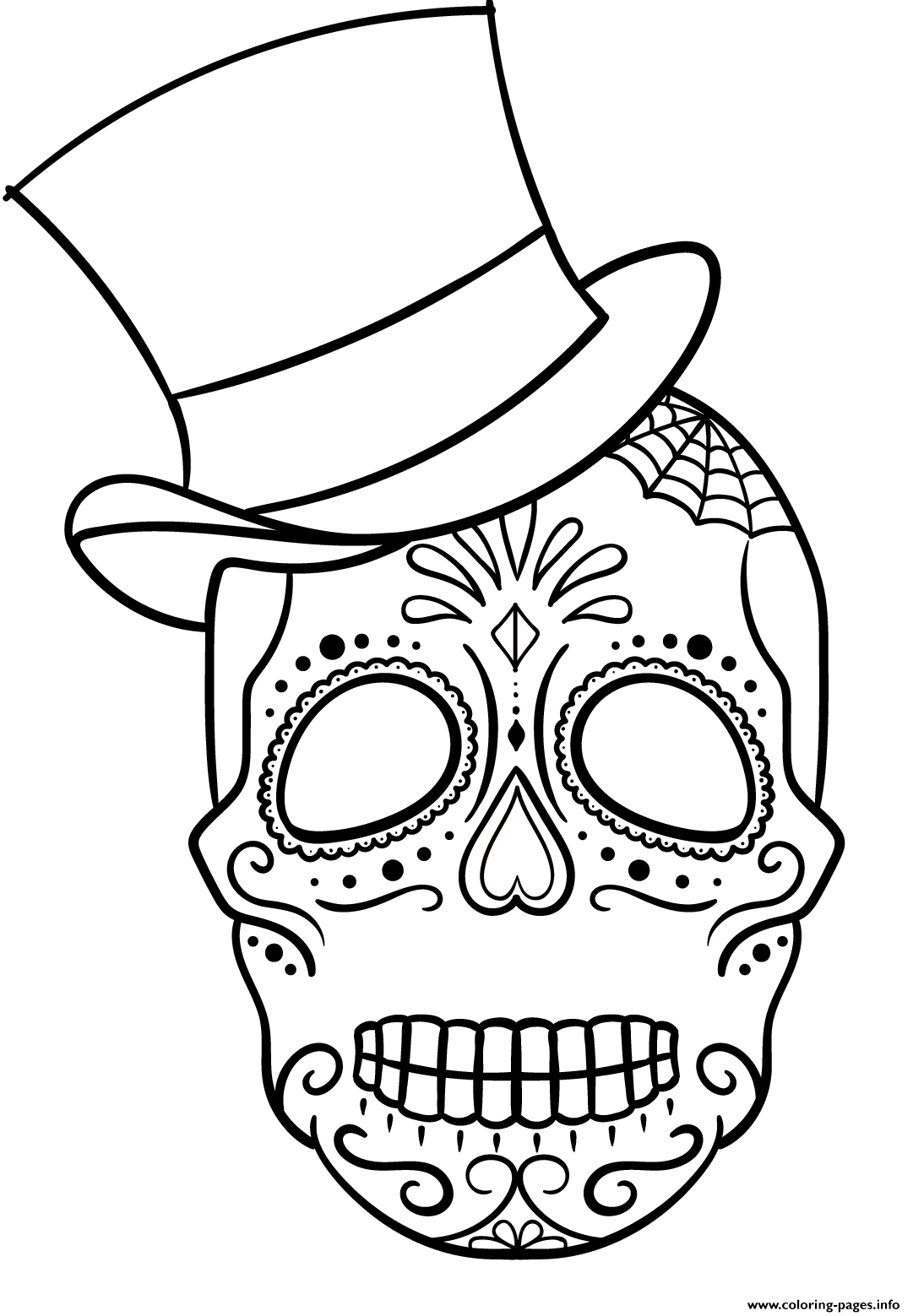 1494522045sugar Skull With Top Hat Calavera Png 1 081 1 559 Pixels Skull Coloring Pages Halloween Coloring Pages Coloring Pages