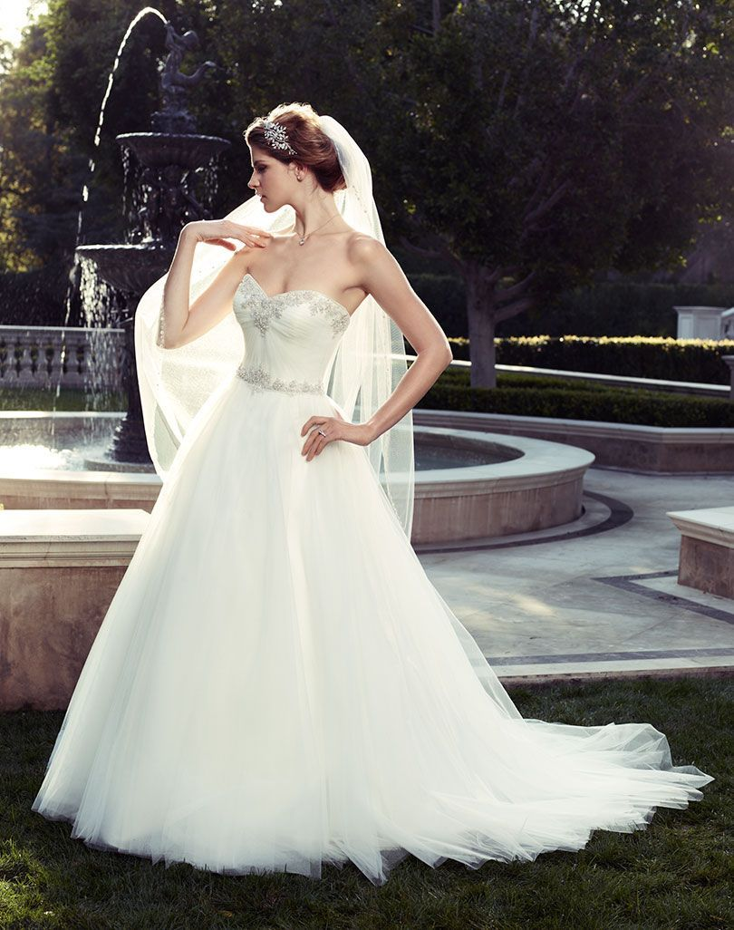 Wedding dresses with rhinestones  Strapless sweetheart neckline ruched bodice with crystals