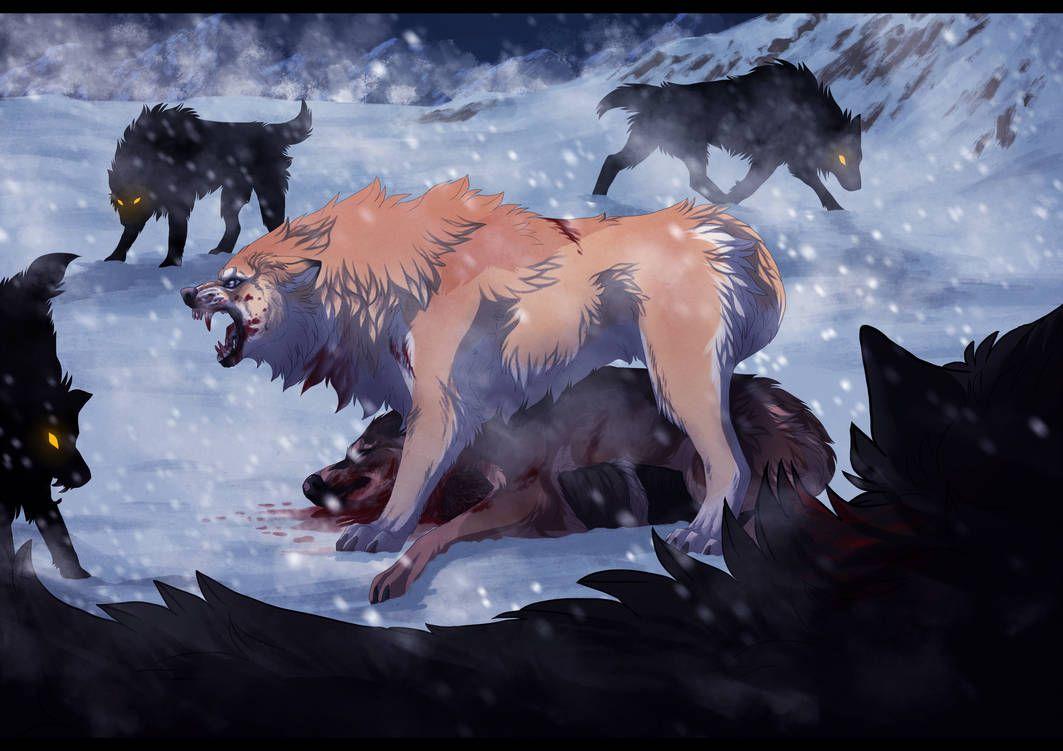 Аниме картинки стаи волков